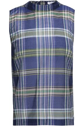 EQUIPMENT Plaid cotton and silk-blend shirt