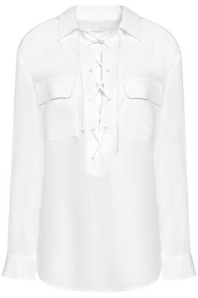 EQUIPMENT Lace-up silk crepe de chine blouse