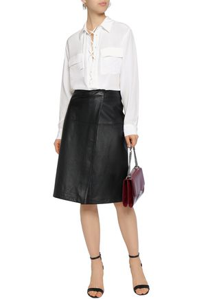 EQUIPMENT Lace-up silk crepe de chine blouse