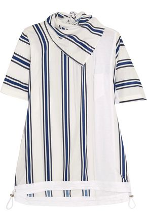 SACAI Striped linen-blend and slub jersey T-shirt