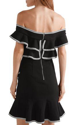REBECCA VALLANCE Off-the-shoulder ruffled crepe mini dress