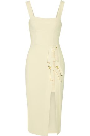 REBECCA VALLANCE Billie bow-embellished stretch-crepe dress