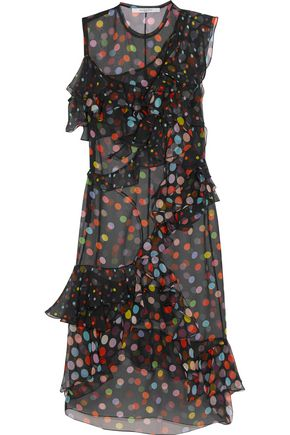 GIVENCHY Ruffled polka-dot silk-chiffon dress