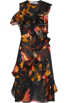 GIVENCHY Ruffled printed devoré satin and silk-chiffon dress