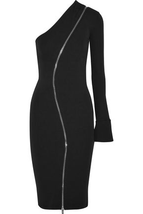 GIVENCHY One-shoulder zip-detailed stretch-jersey dress