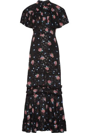 ANNA SUI Pussy-bow ruffle-trimmed silk-blend fil coupé maxi dress
