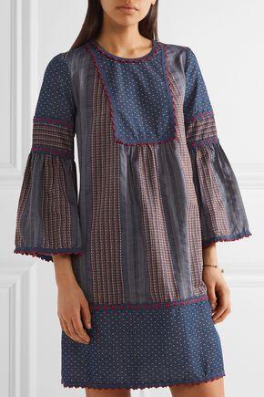 ... ANNA SUI Embroidered cotton-chambray mini dress ...