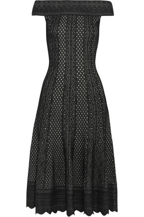 ALEXANDER MCQUEEN Off-the-shoulder jacquard-knit dress