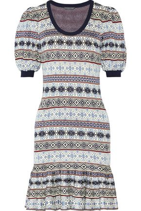 ALEXANDER MCQUEEN Fair Isle jacquard-knit silk-blend mini dress