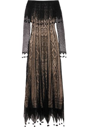 ALEXANDER MCQUEEN Off-the-shoulder pompom-trimmed silk-lace maxi dress