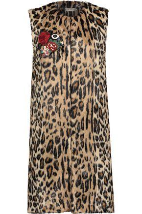 ALICE + OLIVIA Jade embellished leopard-print faux fur vest
