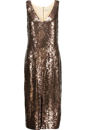 ALICE + OLIVIA Tyra sequined crepe de chine midi dress