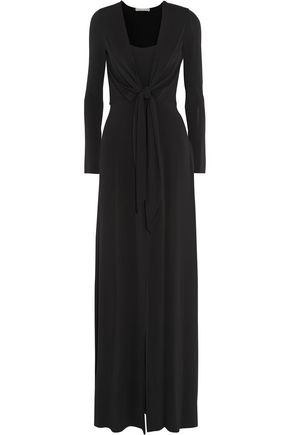 ALICE + OLIVIA Salina knotted stretch-jersey maxi dress