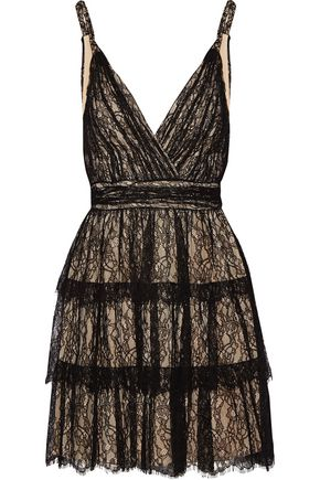 ALICE + OLIVIA Olive tiered lace mini dress