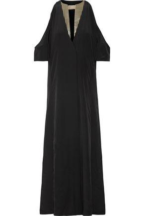 ZEUS + DIONE Lyre cold-shoulder silk crepe de chine maxi dress