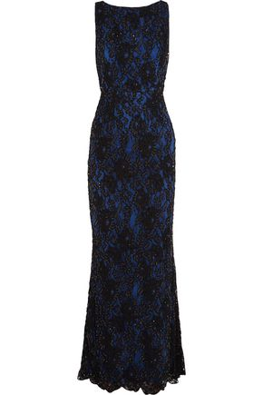 ALICE + OLIVIA Jae cutout embellished corded lace gown
