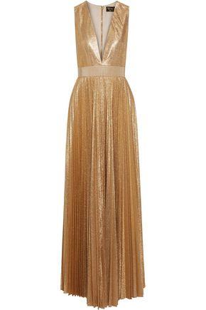 ALICE + OLIVIA Carisa metallic plissé-crepe gown