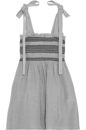 PAUL & JOE Bow-detailed smocked striped voile top