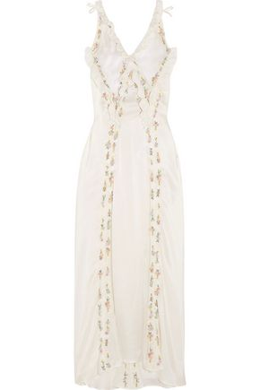 ATTICO Marisa embellished embroidered silk-satin maxi dress