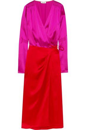 ATTICO Gabriela two-tone satin wrap dress