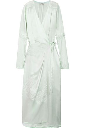 ATTICO Gabriela embroidered silk-satin wrap dress
