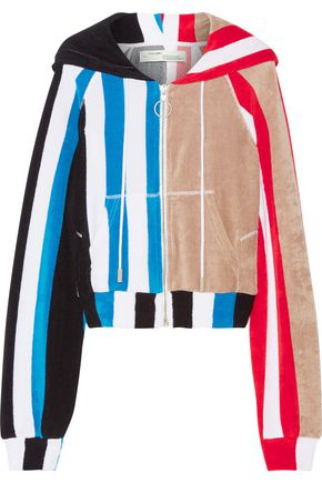 OFF-WHITE™ Striped printed cotton-terry hooded top