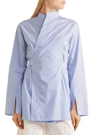 JOSEPH Andy striped cotton-poplin wrap shirt