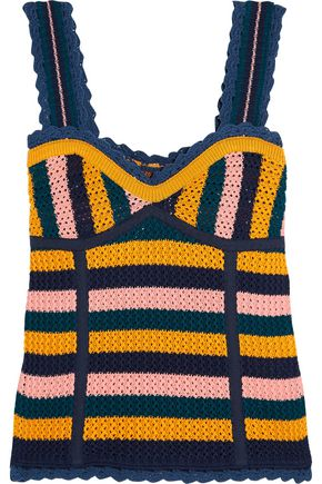 SJYP Striped crocheted cotton top