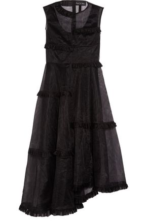 PASKAL Asymmetric ruffle-trimmed tulle dress