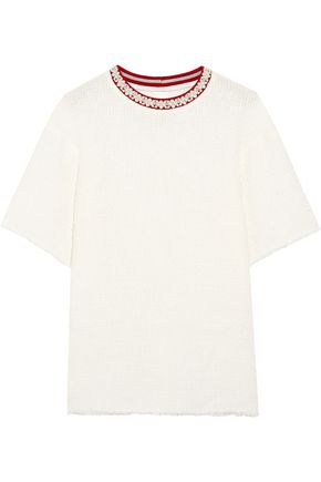 MOTHER OF PEARL Vince frayed embellished cotton-blend bouclé T-shirt