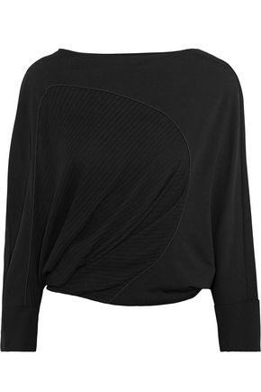 ATLEIN Ribbed knit-paneled jersey top