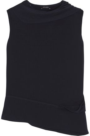 ATLEIN Draped cutout jersey top