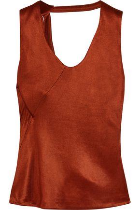 ATLEIN Open-back draped metallic satin top