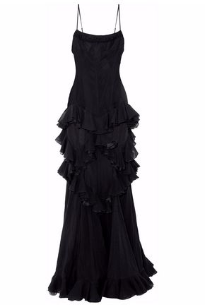 HERVÉ LÉGER Lace-up ruffled mesh and silk-chiffon gown