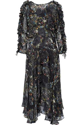 PREEN by THORNTON BREGAZZI Ermin ruffle-trimmed devoré silk-blend chiffon midi dress