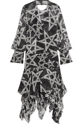 PREEN by THORNTON BREGAZZI Alena asymmetric printed fil coupé silk-blend chiffon dress