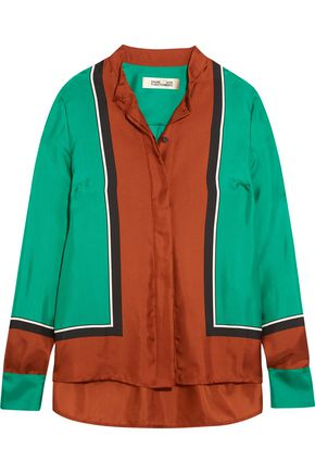 DIANE VON FURSTENBERG Color-block silk-satin shirt