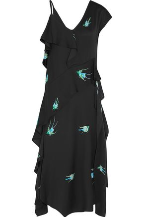 DIANE VON FURSTENBERG Draped printed silk-blend midi dress