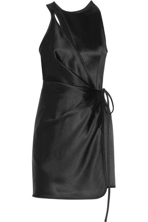 ALEXANDER WANG Wrap-effect cutout gathered satin mini dress