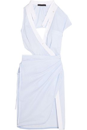 ALEXANDER WANG Asymmetric cutout striped cotton-poplin wrap dress