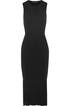 ALEXANDER WANG Fringed stretch-knit midi dress