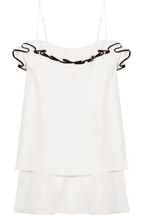 ADAM LIPPES Ruffled satin-crepe top