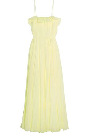 ADAM LIPPES Cutout pleated chiffon gown