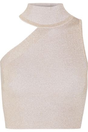 CUSHNIE ET OCHS Cropped cutout metallic stretch-knit top