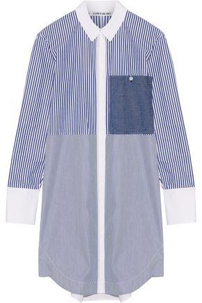 ELIZABETH AND JAMES Jay striped cotton-poplin mini shirt dress