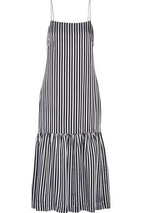 Elizabeth And James Woman Jewel Striped Satin And Crepe Midi Dress Midnight Blue Size 2 Elizabeth & James FQW60A0NB