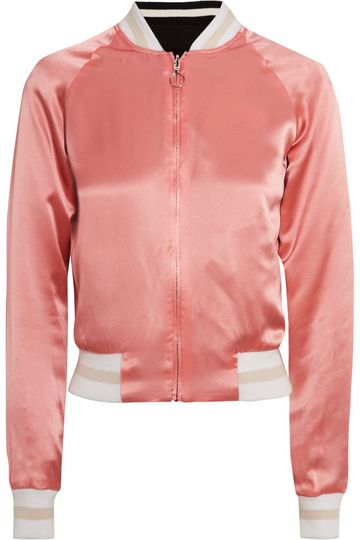 ELIZABETH AND JAMES Willa reversible embroidered satin and twill bomber jacket