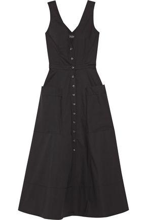SALONI Zoey cutout stretch-cotton poplin midi dress