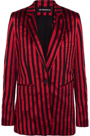 ANN DEMEULEMEESTER Striped satin and twill blazer