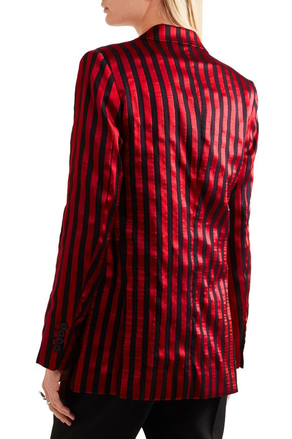 Striped satin and twill blazer | ANN DEMEULEMEESTER | Sale up to 70% off |  THE OUTNET